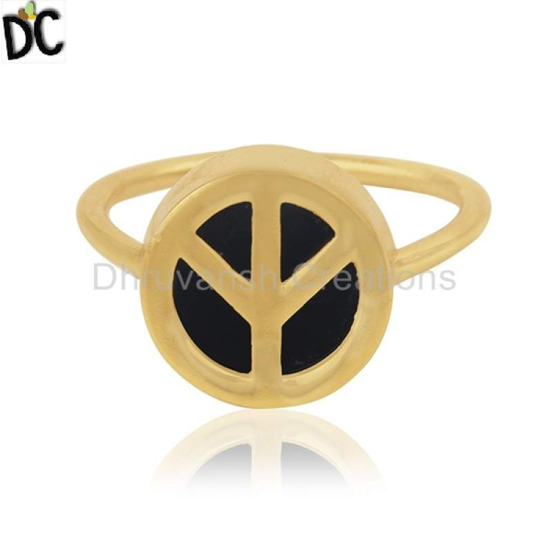 Gold Plated Silver New Design Peace Sign Ring Black Onyx Gemstone Jewelry Manufacturers