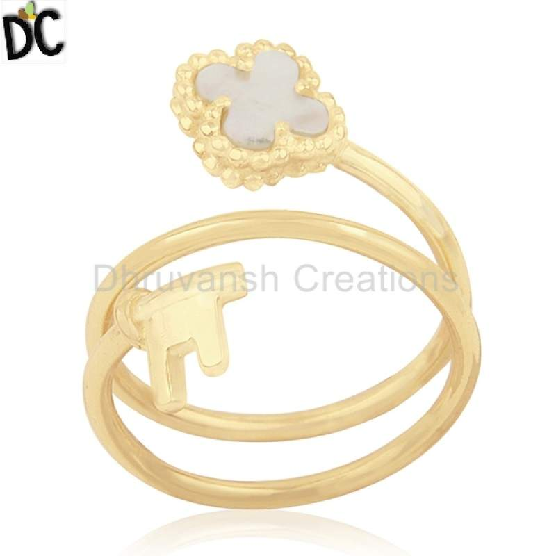 Natural Pearl Gemstone Clover Key Design Ring Gold Plated 925 Silver Jewelry suppliers