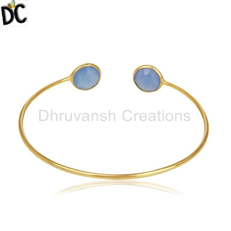 manufacturers Gold Plated Silver Cuff Bracelet Blue Chalcedony Gemstone Jewelry for Girl's