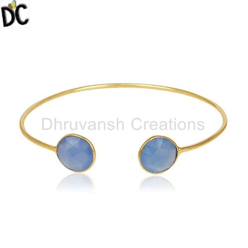 Wholesalers Gold Plated Silver Cuff Bracelet Blue Chalcedony Gemstone Jewelry for Girl's