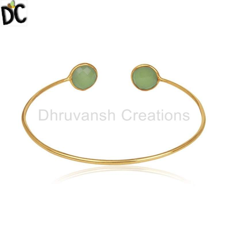 wholesale 18K Gold Plated Silver Designer Cuff Bracelet Jewelry Manufacturers From India