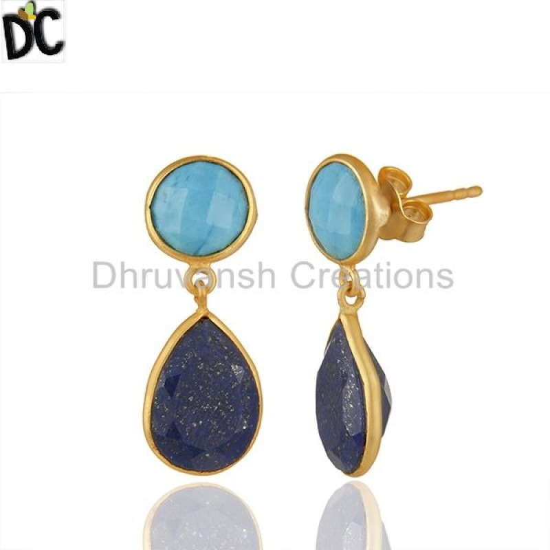 Multi Gemstone Bezel Setting 925 Silver Gold Plated Earrings Wholesale
