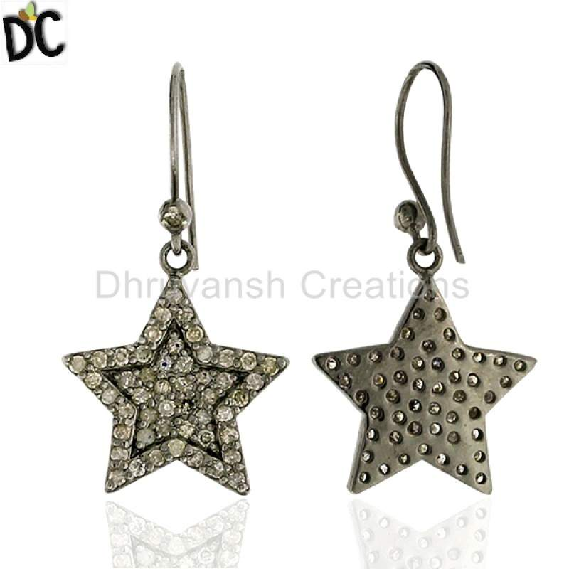 Pave Diamond .925 Sterling Silver Star Design Hook Earrings Women Jewelry Manufacturers