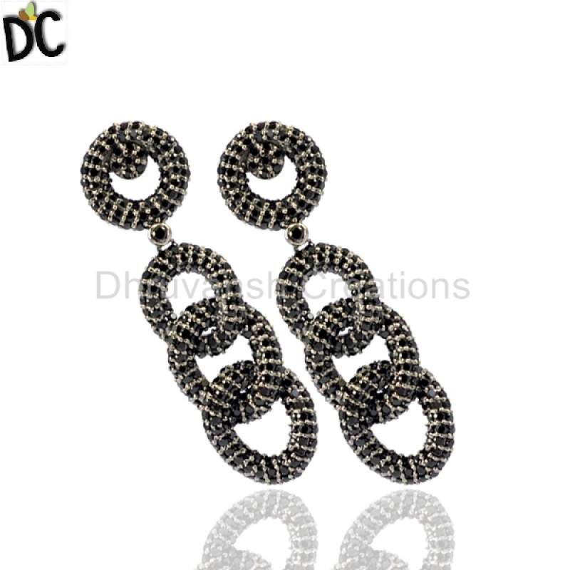 925 Sterling Silver Black Spinel Pave Link Chain Long Earrings Suppliers