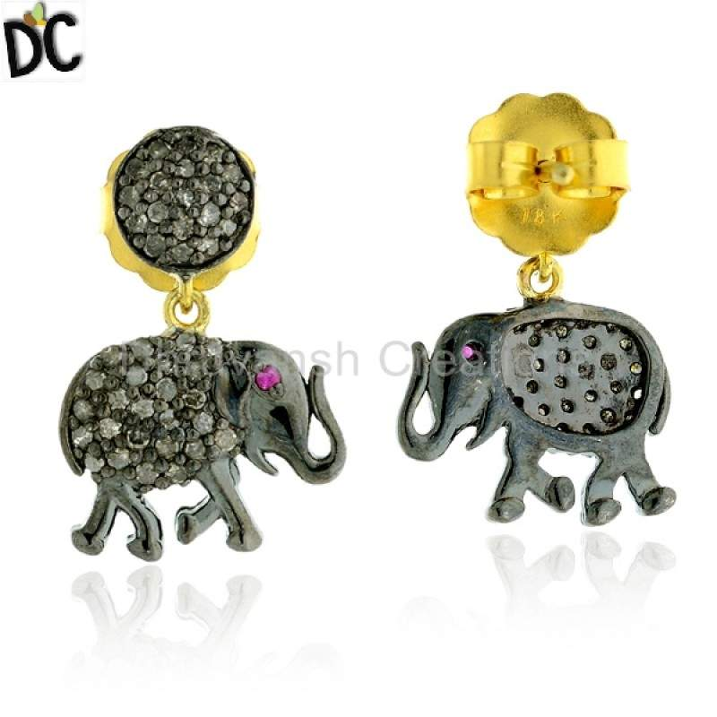 Elephant Charm Dangle Earrings Diamond Gemstone Silver Jewelry Suppliers