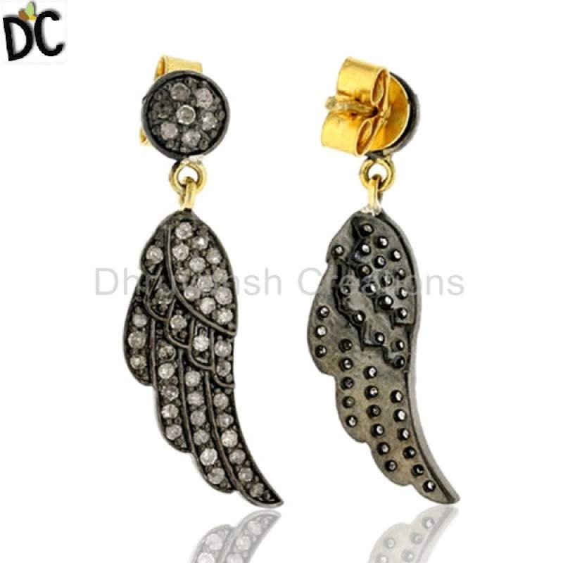 Pave Diamond Angel Wing Dangle Earrings Sterling Silver Jewelry Supplier from India