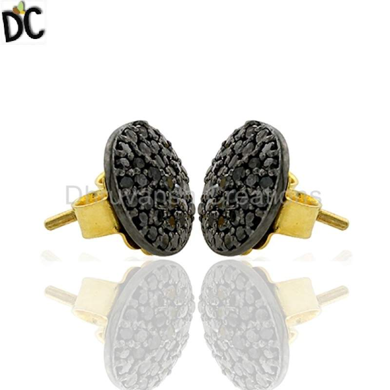 0.2ct Black Diamond 14kt Gold 925 Sterling Silver Stud Earrings Handmade Jewelry Supplier from India