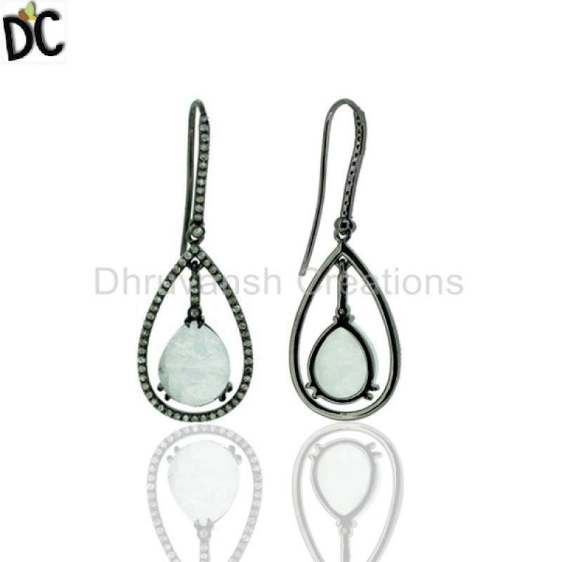 Moonstone gemstone Pave Diamond Gemstone Fine Silver Dangle Earring Wholesale from India