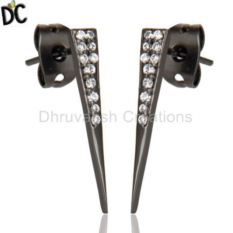 CZ Gemstone Stud Black Oxidized 925 Sterling Silver Earrings Jewelry Suppliers