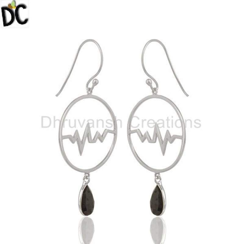 Hematite Studded Simple Heartbeat Designer Silver Earrings manufacturers