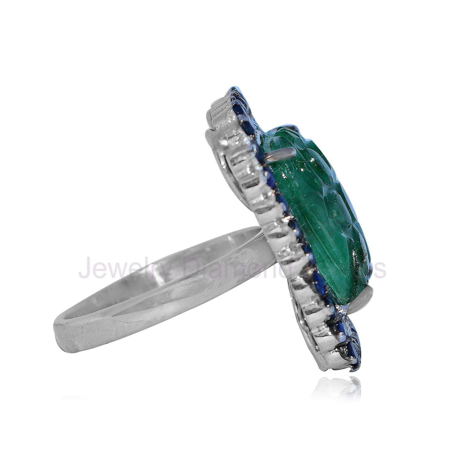 925 Silver Emerald & Sapphire Gemstone Diamond Wedding Ring Women's Jewelry