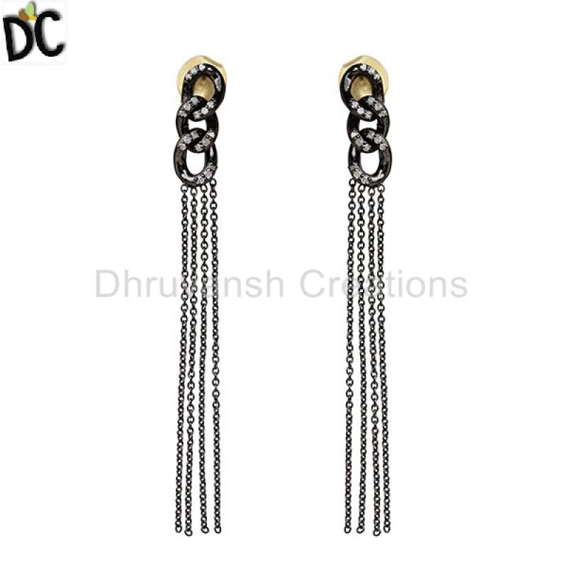 Diamond Pave Sterling Silver Tassel Earrings Dangle 14k Gold Pave Diamond Jewelry Manufacturers