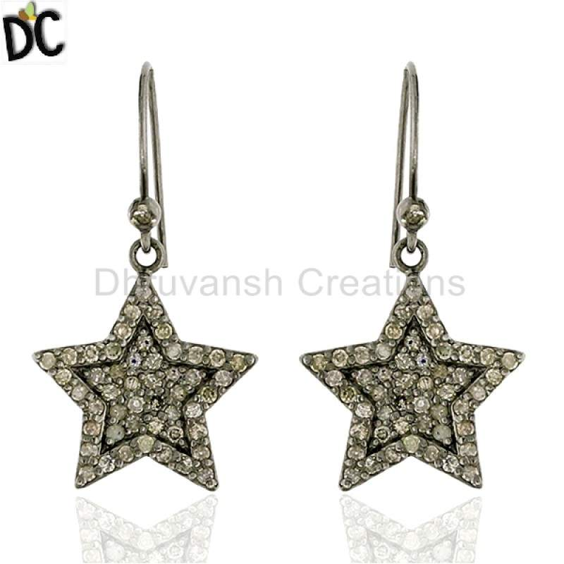 Pave Diamond .925 Sterling Silver Star Design Hook Earrings Women Jewelry Suppliers