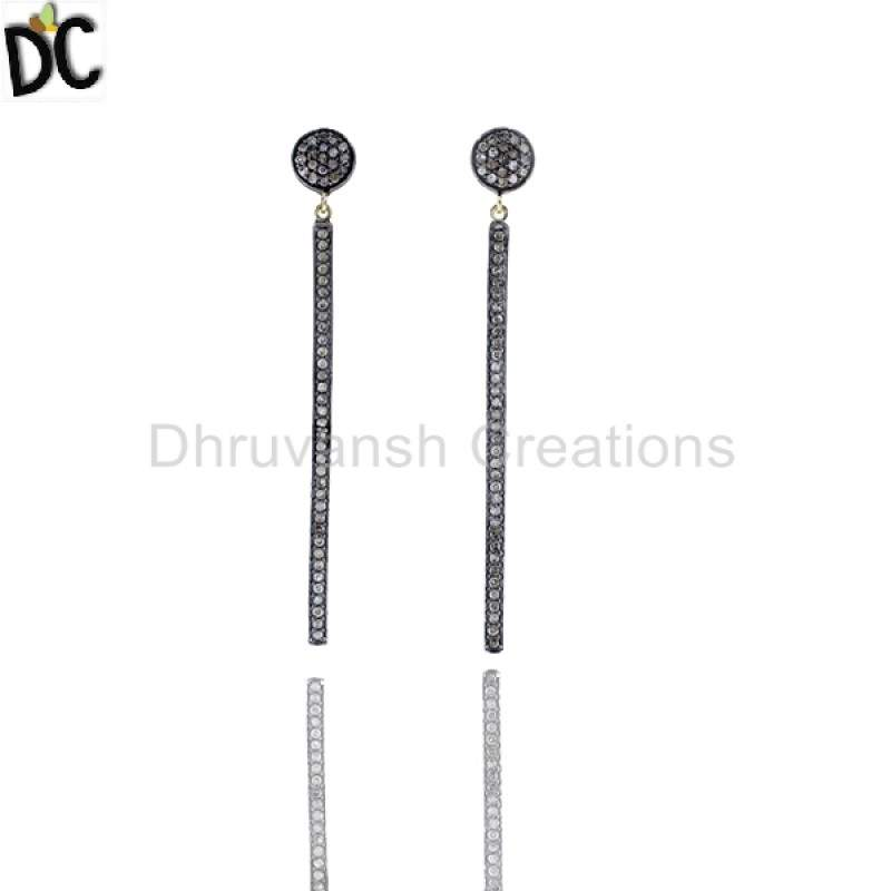Pave Diamond Stick Silver Earrings Jewelry Gift Fo For Christmas suppliers