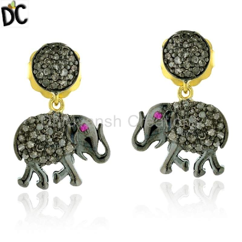 Elephant Charm Dangle Earrings Diamond Gemstone Silver Jewelry Manufacturers