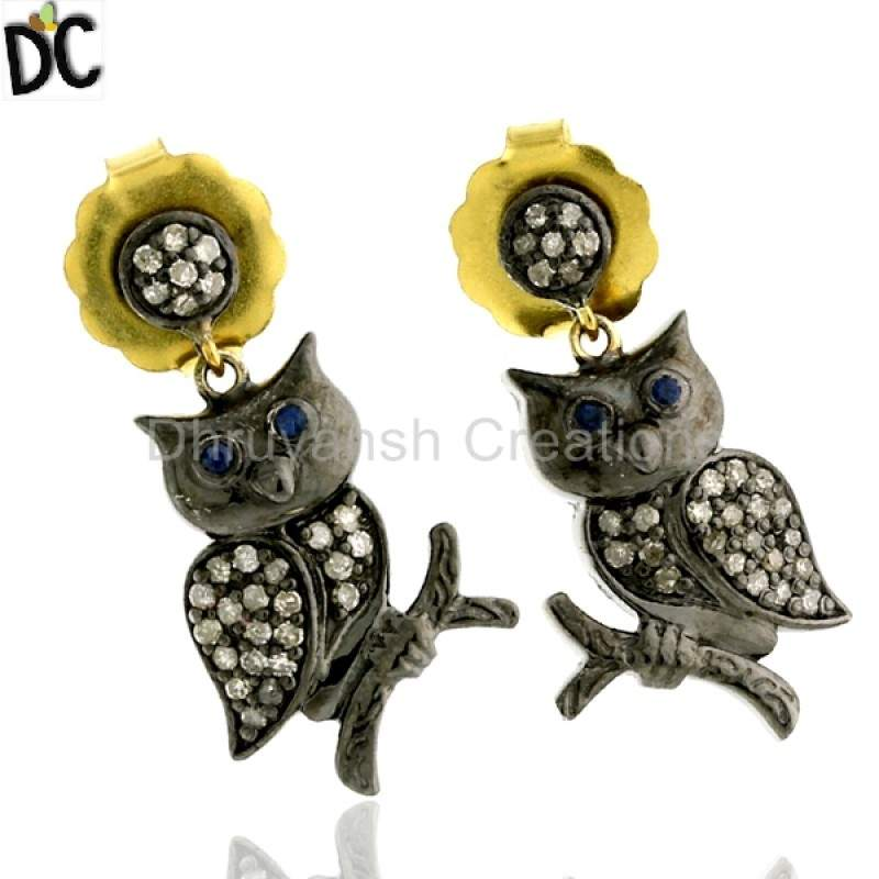 Pave Diamond Sapphire 14kt Gold Silver Owl Design Dangle Earrings Jewelry Manufacturers from India