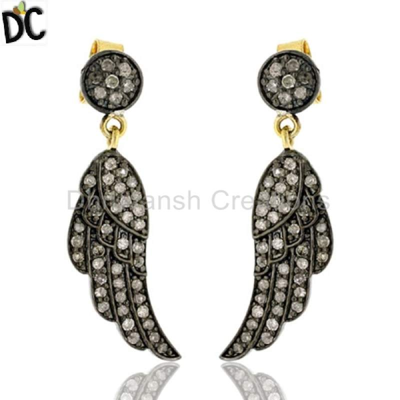 Pave Diamond Angel Wing Dangle Earrings Sterling Silver Jewelry Suppliers