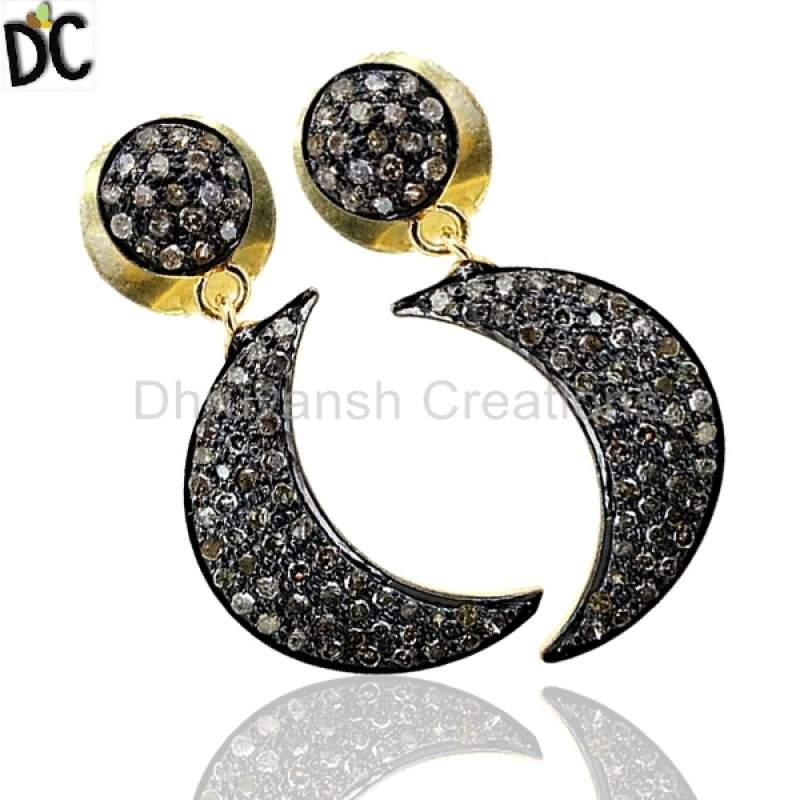 Pave diamond crescent earring jewelry manufacturer