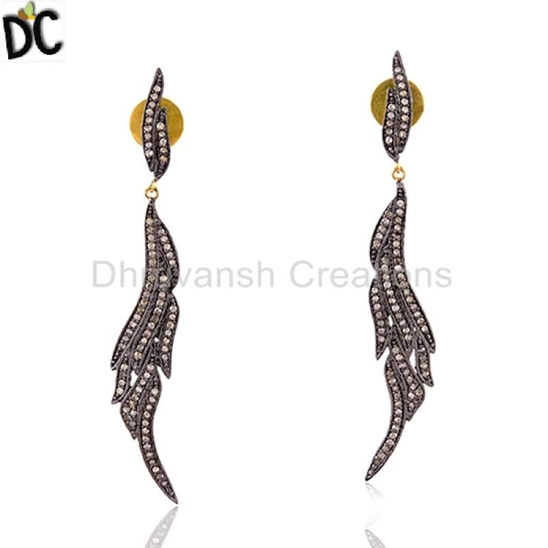 Pave Diamond 14kt Gold 925 Sterling Silver Dangle Earrings Women Jewelry Suppliers