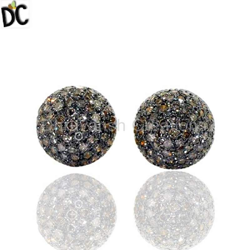 Pave Diamond Stud Earrings Women Jewelry Wholesale from India