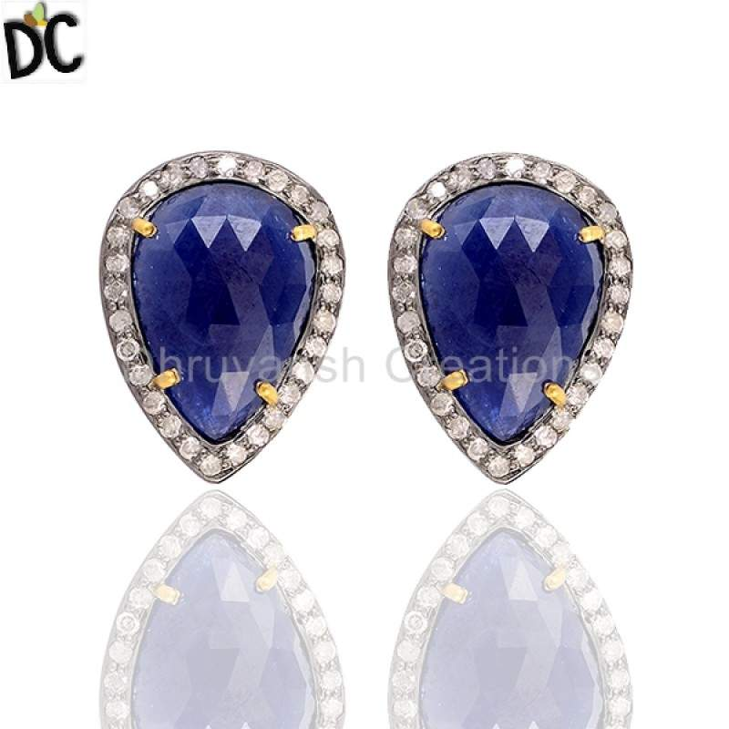 Sapphire Gemstone Diamond 925 Sterling Silver Stud Earrings Pave Diamond Jewelry Manufacturer