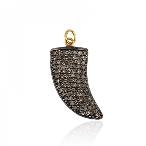 Pave Diamond Horn Pendant 925 Sterling Silver Charms Wholesale Jewelry