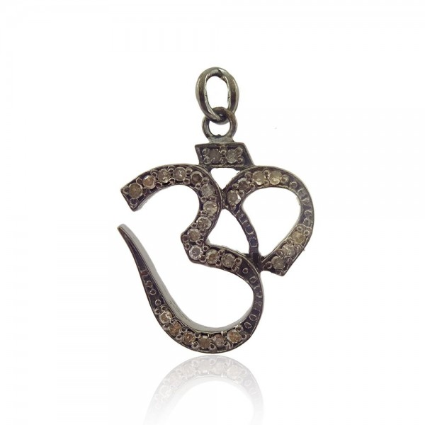 Pave Diamond OM Pendant, 925 Sterling Silver Diamond Charms Pendant