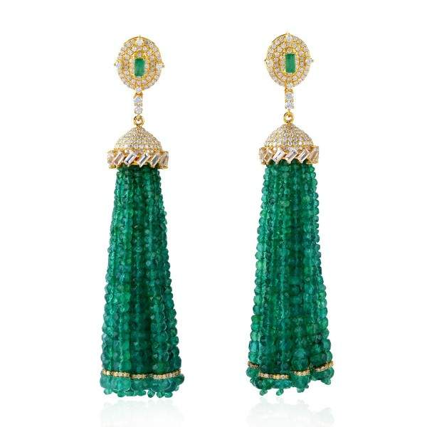 Yellow Gold Plated Plating 925 Gold Plated Emerald Beaded Pave Diamond Tassel Earrings