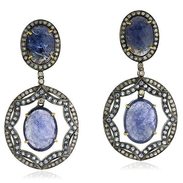 925 Sterling Gold Plated Tanzanite Dangle Earring Pave Diamond Jewelry