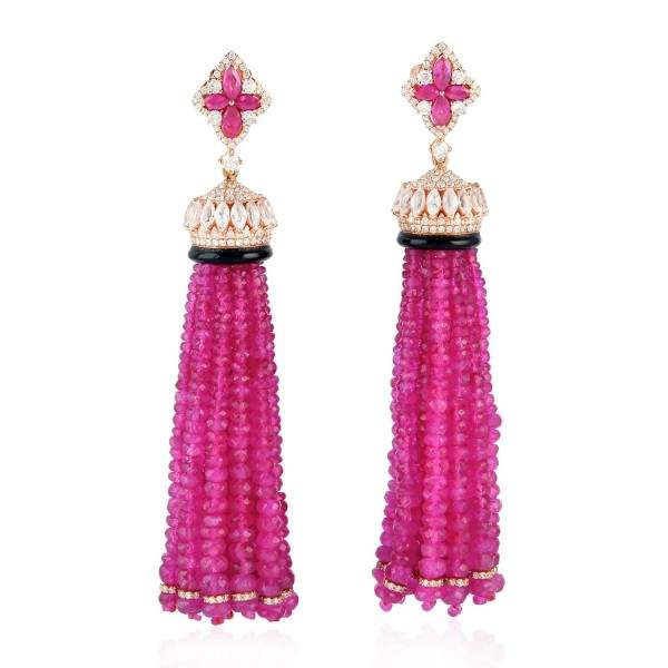 Antique Ruby Gemstone Designer Tassel Earrings In 14K Rose Gold Plated Plating