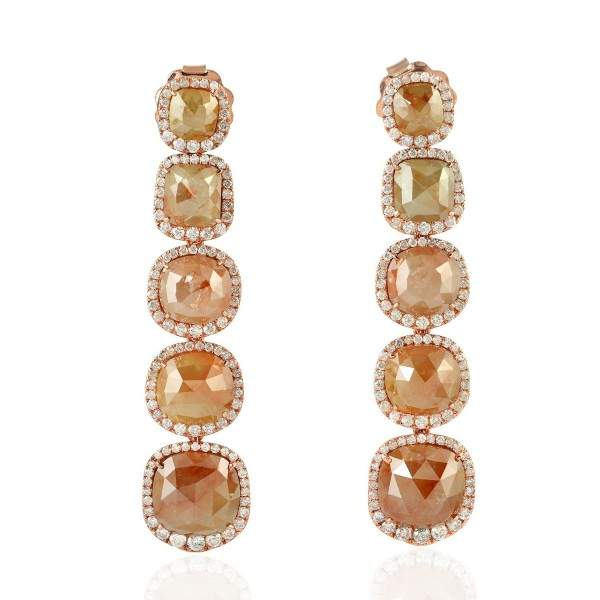 18K Rose Gold Ice Diamond Dangle Earrings