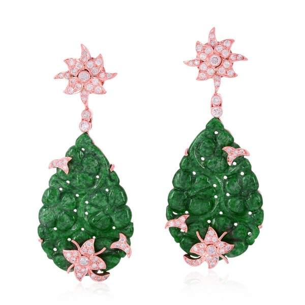 18K Rose Gold Jade Floral Carved Dangle Earring