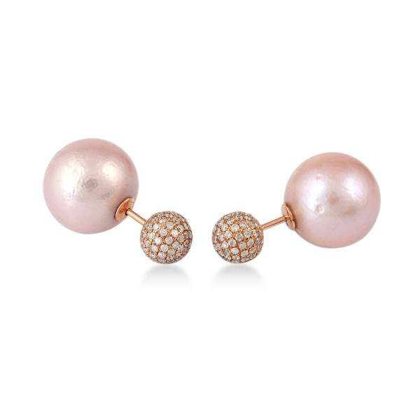 18K Rose Gold Micro Pave Pearl Chiness Tunnel Earring