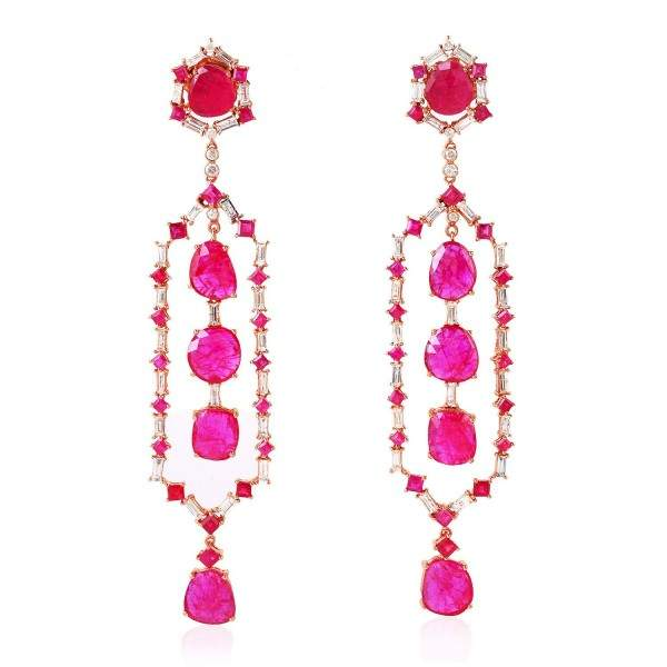 925 Sterling Gold Plated Ruby Gemstone Designer Dangle Earrings