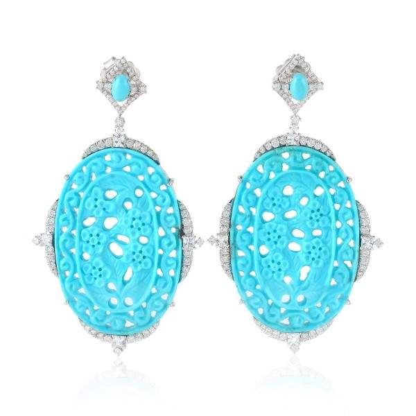 925 Gold Plated Pave Diamond Turquoise Carving Dangle Earrings