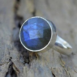 Natural Labradorite Ring, Round Faceted Blue Labradorite Gemstone 925 Sterling Silver Ring, Labradorite Sterling Silver Ring, All Size