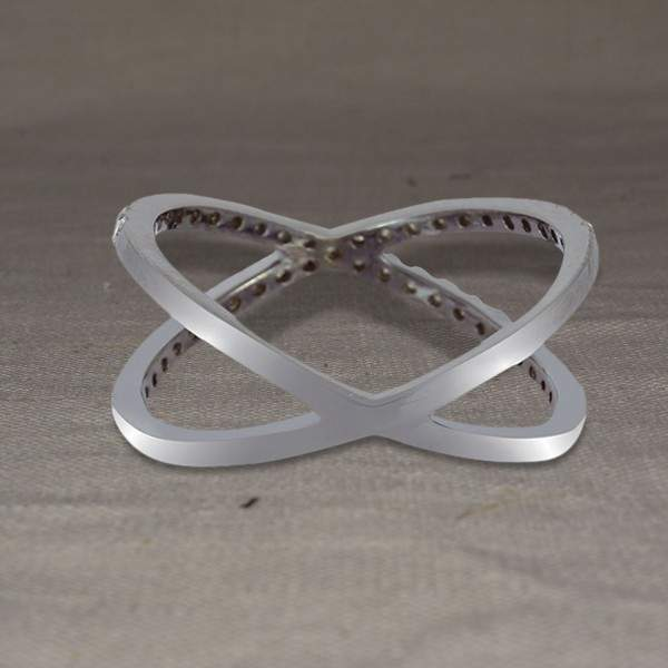 X Shape Silver Ring Pave 50