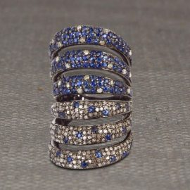 sapphire Six Line Ring, Pave Diamond Blue Sapphire Row Line Ring, Sterling Silver Blue Sapphire Pave Diamond Row Line Ring Jewelry Be the first to review this p