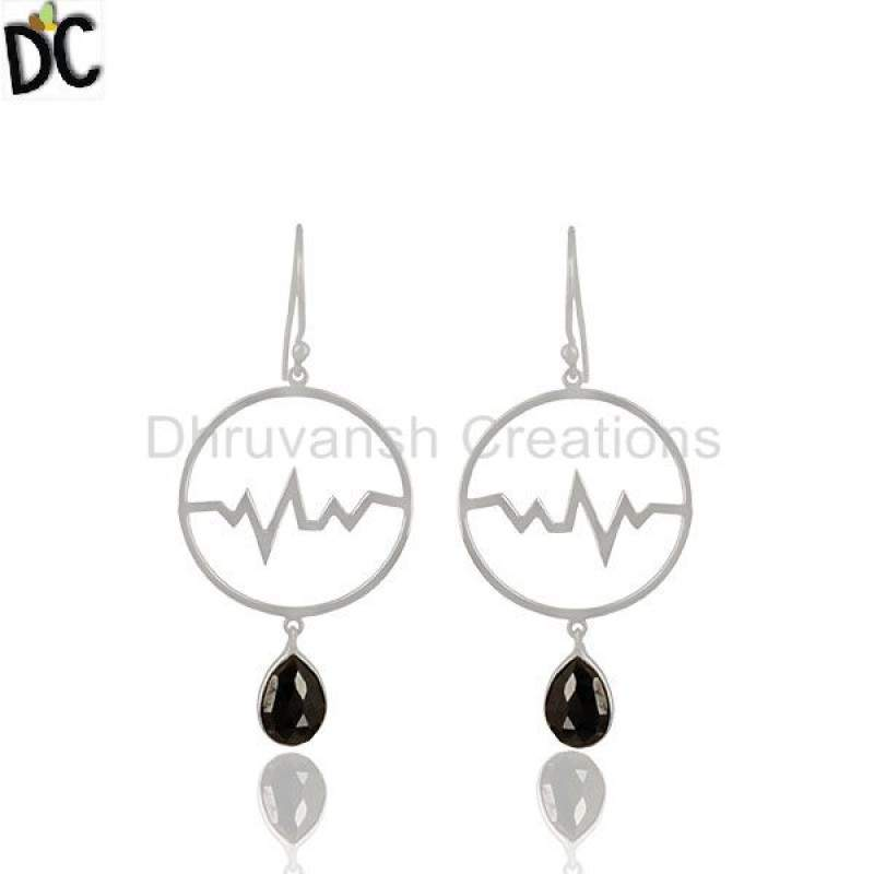 Hematite Studded Simple Heartbeat Designer Silver Earrings suppliers
