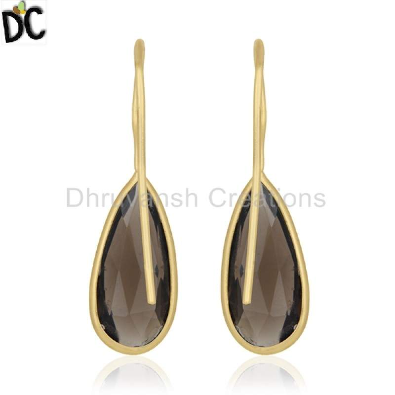 Gold Plated 925 Silver Jewelry Smoky Quartz Gemstone Drop Earring Manufacturer