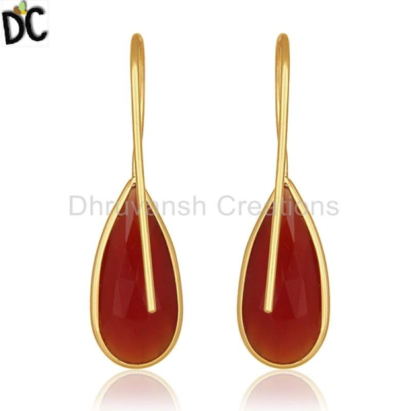 Red Onyx Gemstone Jewelry Manufacturer of Gold Plated Silver Earrings