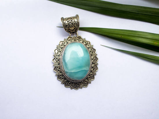 Larimar pendant sterling silver necklace gemstone pendantgift for 19500 aloadofball