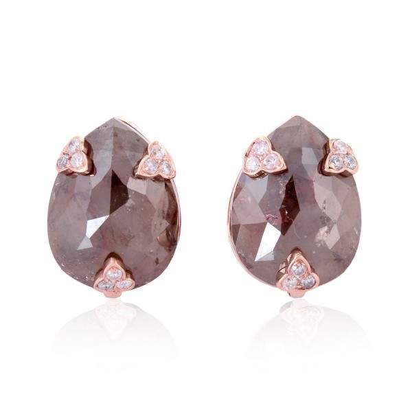 18K Rose Gold Plated Ice Diamond Stud Earring