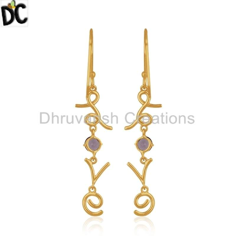 Natural Amethyst Gemstone Love Design Earring Gold Plated Silver Jewelry Suppliers