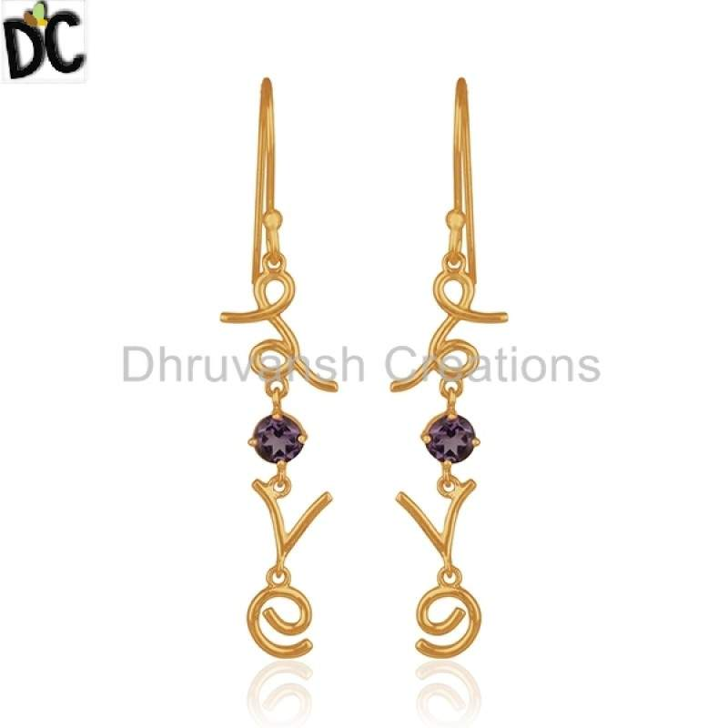 Amethyst Gemstone Love Design Earring Gold Plated Silver Jewelry