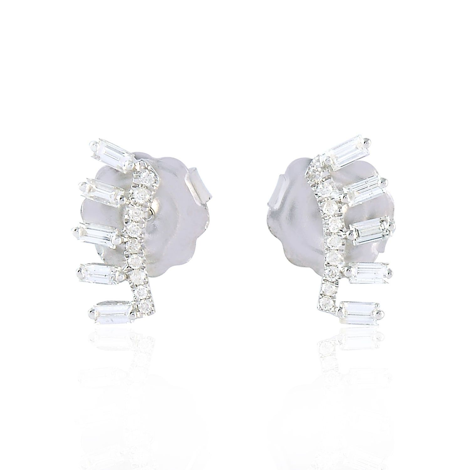 baguette diamond cluster stud square earrings in image studs shaped white ladies gold cushion a