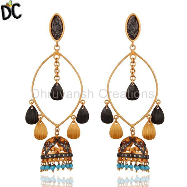 itm image pearl plated setting earrings loading s set long is rose jhumka cm indian gold