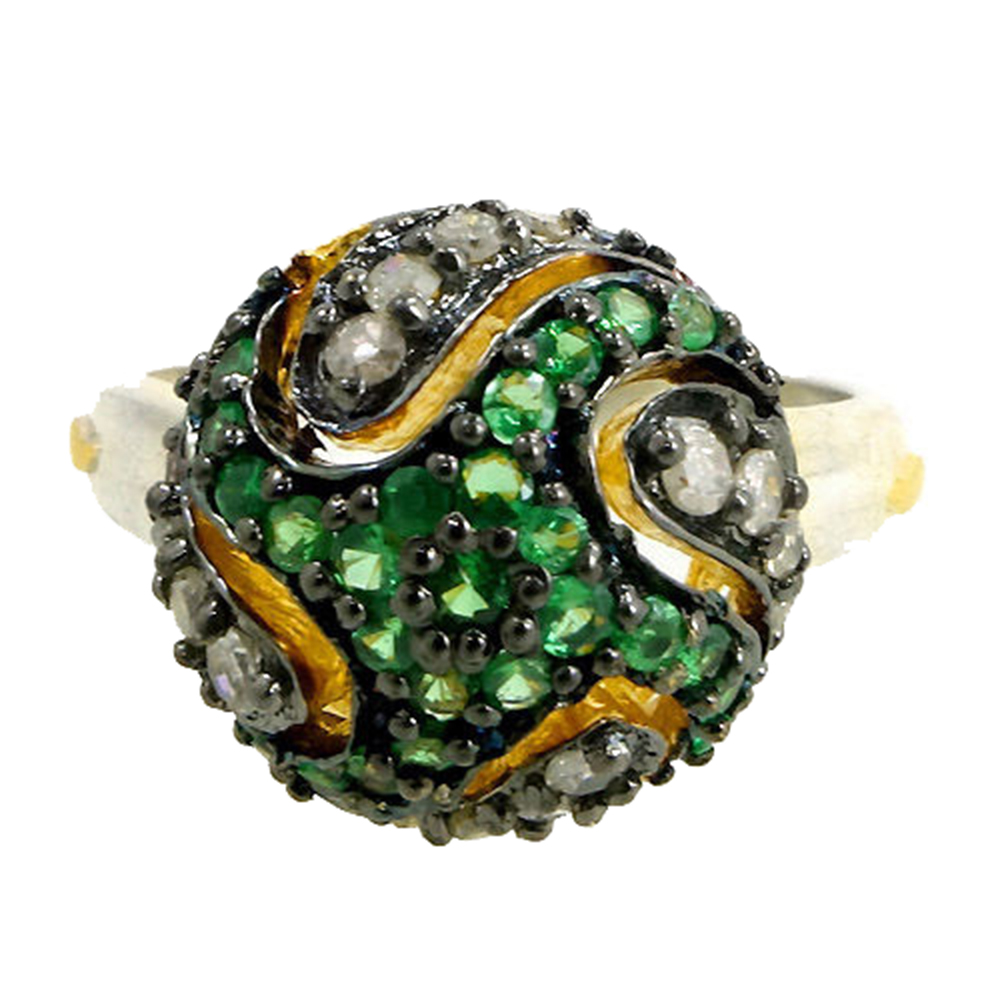 raine gemstone product tsavorite garnet and turgeon prehnite ring