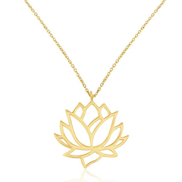 Lotus Flower Design 925 Sterling Plain Silver 14k Gold Plated