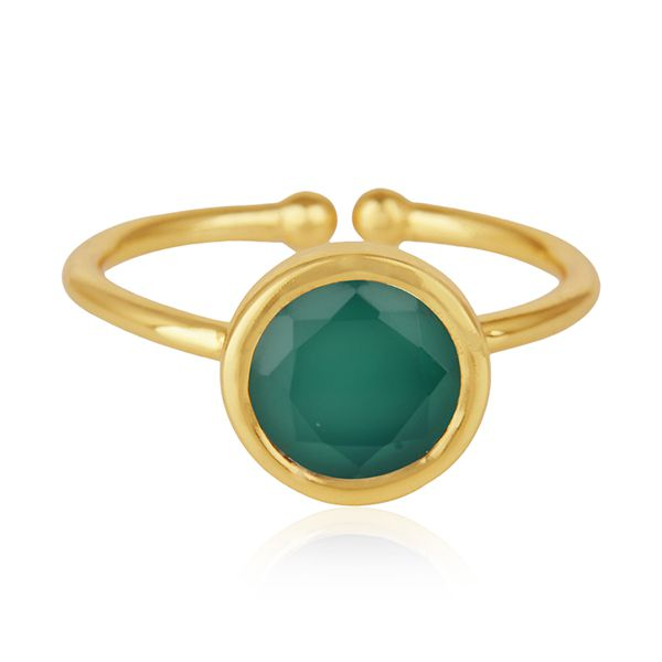 Green Onyx Gemstone 925 Sterling Silver Gold Plated Ring Wholesale Suppliers